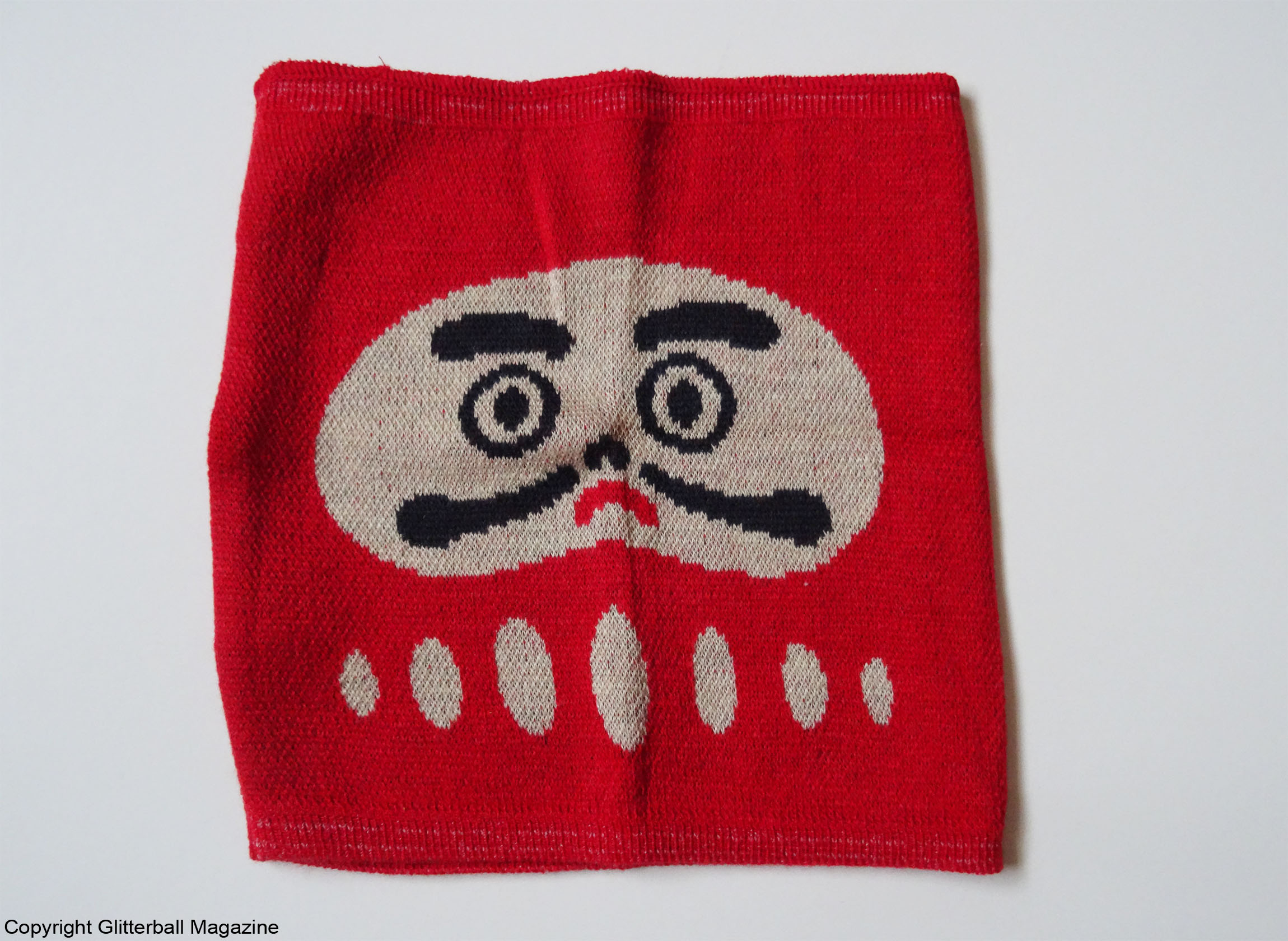 Japanese Daruma Doll Neck Warmer Front View